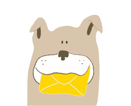 message vector: Dog sending a message, vector illustration