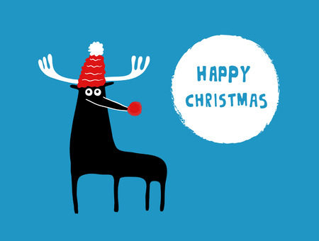 caribou: Caribou in a Happy Christmas card, vector illustration