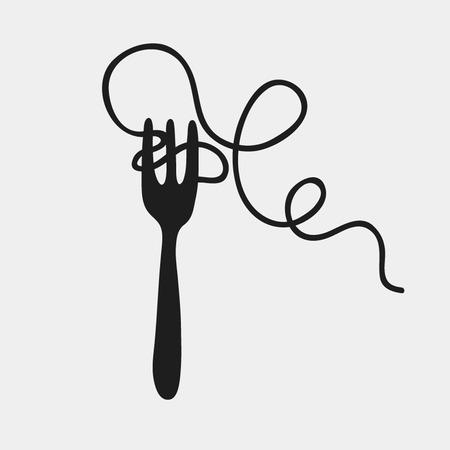 スパゲッティとフォークのシルエット、ベクトル イラスト