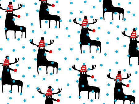 caribou: Christmas caribou pattern, vector illustration