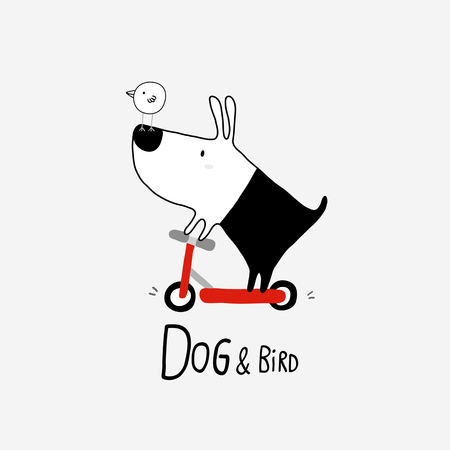 Dog and Bird riding a scooter