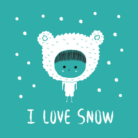 winter clothing: I love snow,winter kid illustration Illustration