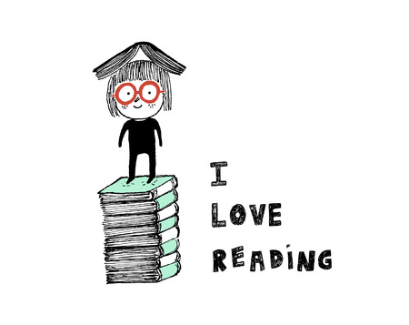 I love reading,a girl on top of a pile of books.Hand drawn illustration