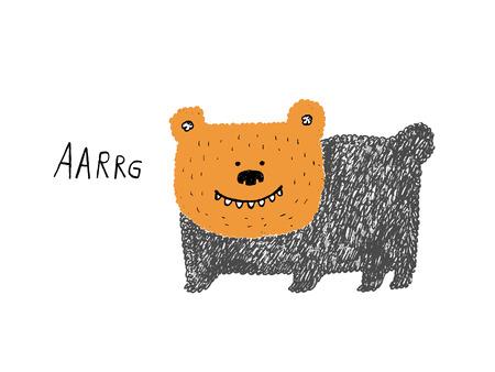 growling: Bear growling sketch, hand drawn illustration Illustration