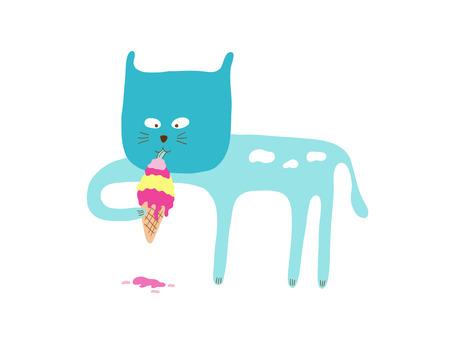 eating ice cream: Cat eating ice cream, illustration