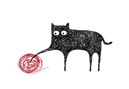 Kat spelen met een bal van garen, illustratie