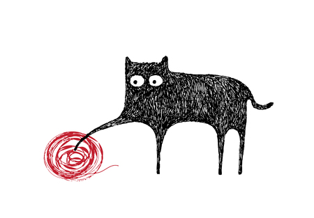 Cat playing with a ball of yarn, illustration Illustration