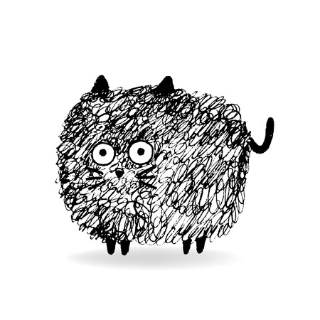 hairy: Hairy Cat sketch, hand drawn ink illustration