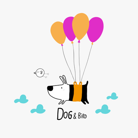 Dog & Bird flying with balloons, character design Illustration