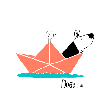 paper boat: Dog & Bird in a paper boat, character design Illustration