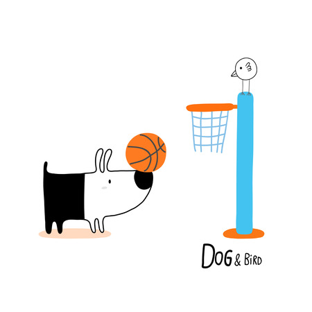 Dog & Bird playing basketball, character design for decoration