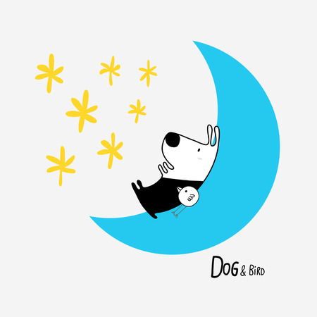 Dog & Bird in the Moon looking at the stars, character design for decoration