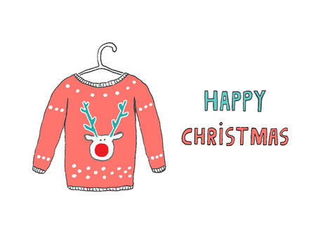 happy christmas: Happy Christmas Caribou jersey card