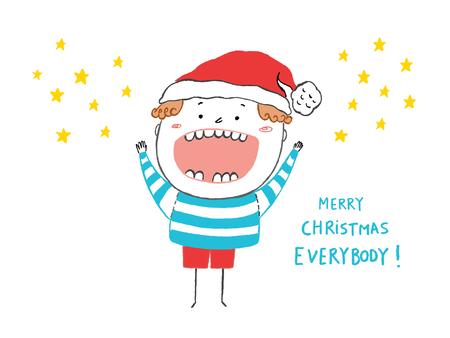 Tarjeta de la Feliz Navidad Todo el mundo, muchacho feliz
