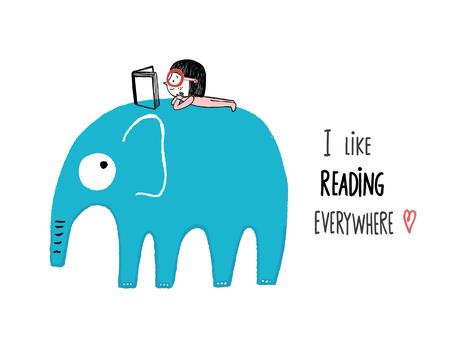 I Like Reading Everywhere. Girl with a book on an elephant Illusztráció