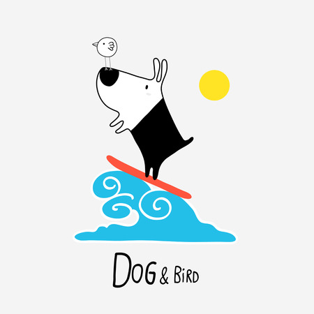 Dog & Bird surfing, vector illustration Illustration