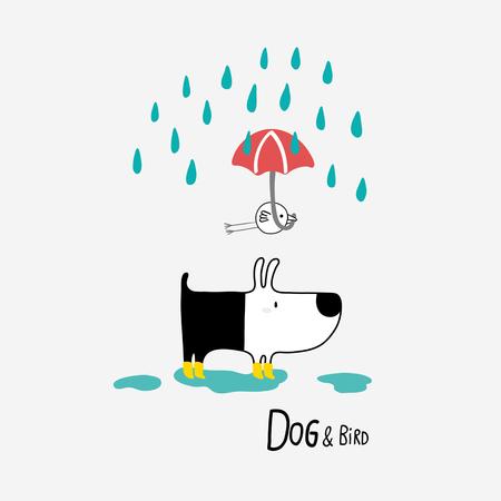 Dog & Bird under the rain, vector illustration