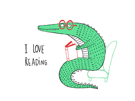 I Love Reading, Crocodile reading a book, hand drawn vector illustration Illustration