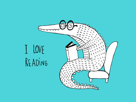 I Love Reading, Crocodile reading a book. Hand drawn vector illustration