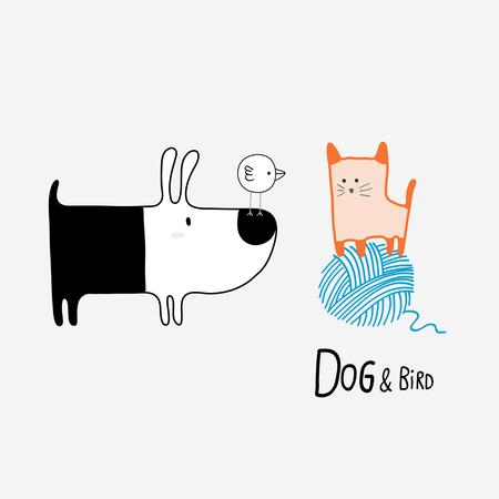 Perro y pájaro reunión de un gato, ilustración vectorial