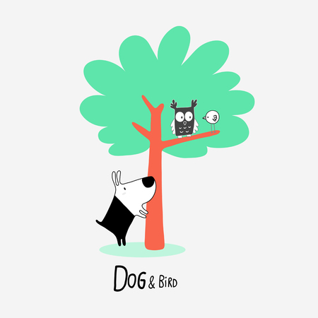 Dog & Bird in Nature with an Owl, vector illustration