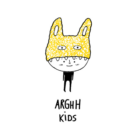Arghh kids, boy with a monster hat vector illustration
