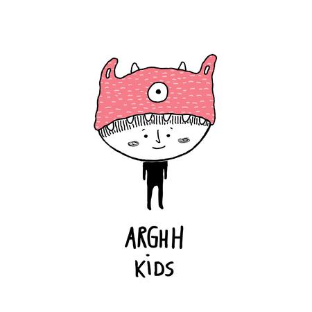 Arghh kids,child with a monster hat vector illustration