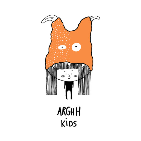 Arghh kids,child with a monster hat. Hand drawn vector illustration