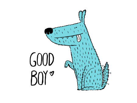 smart card: Good boy. Dog giving his paw, hand drawn vector illustration Illustration