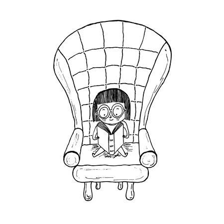 Little girl reading sitting on a sofa.Black and white hand drawn vector illustration. Illusztráció