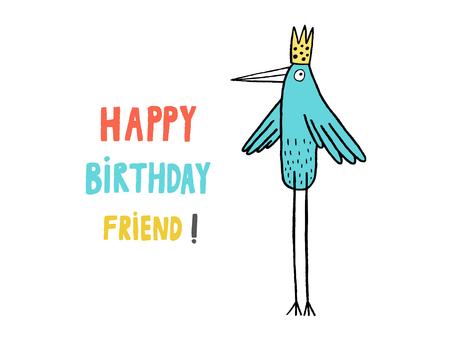 Happy Birthday Friend! card, hand drawn vector illustration Illusztráció