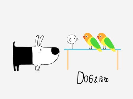 Dog & Bird and Lovebirds, vector illustration