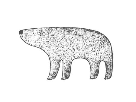 Hand drawn Polar bear, ink vector illustration Illusztráció