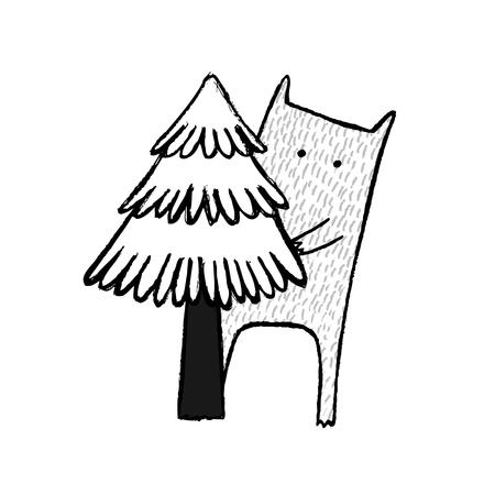 Scared Monster, hand drawn vector illustration