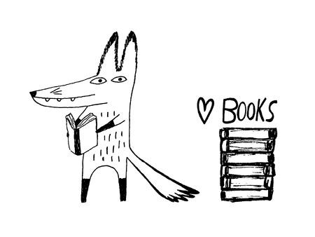 Fox reading books. Hand drawn vector illustration