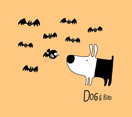 Dog & Bird in Halloween with bats, vector illustration