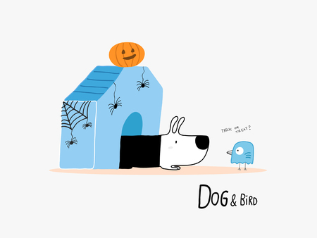 ghost house: Dog and Bird in Halloween vector illustration.