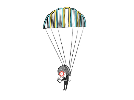 Little girl reading in a parachute with books vector illustration. Illustration