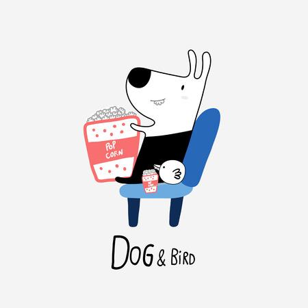 Dog & Bird eating popcorn at the cinema, vector illustration