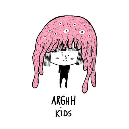 Arghh Kids, cute character with a monster hat. Hand drawn vector illustration