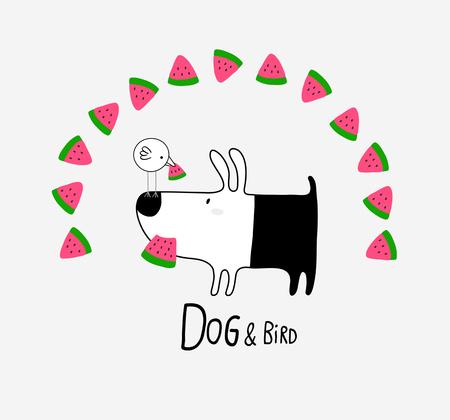 Dog & Bird eating Watermelon, vector illustration