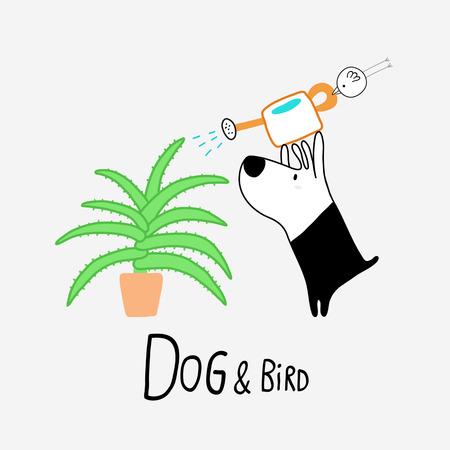 Dog & Bird watering an Aloe Vera,vector illustration