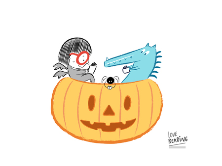 Love Reading! Little girl reading on Halloween, vector illustration