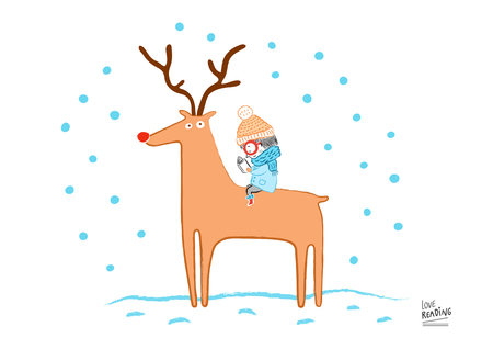 Little girl reading under the snow, vector illustration