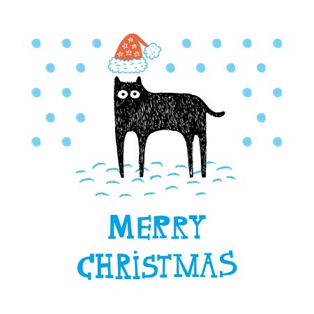Christmas Cat card Illusztráció