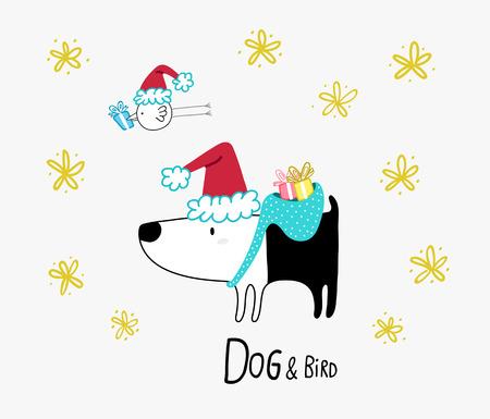 Dog & Bird with Christmas presents Illusztráció
