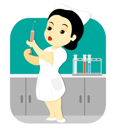 A female nurse holding an injection syringe stands in the laboratory of a clinic or hospital