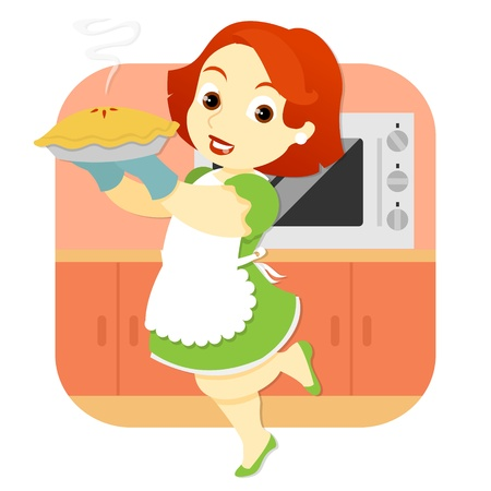 freshly: A woman wearing an apron, stands in a kitchen background holding a freshly baked pie, straight from the oven