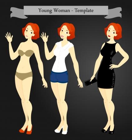 ふだん着: 水泳の摩耗、カジュアルウェア、形式的な夕方の摩耗で、若い女性のテンプレート