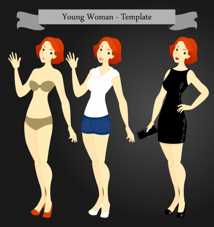 swim wear: A template of a young woman in swim wear, casual wear and formal evening wear